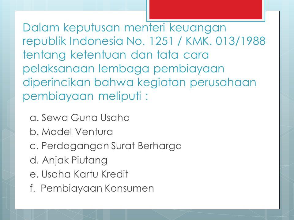 Dalam keputusan menteri keuangan republik Indonesia No. 1251 / KMK