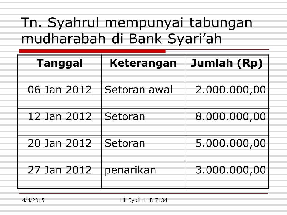 Tn. Syahrul mempunyai tabungan mudharabah di Bank Syari'ah