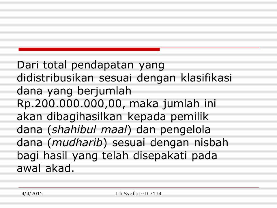 Dari total pendapatan yang didistribusikan sesuai dengan klasifikasi dana yang berjumlah Rp.200.000.000,00, maka jumlah ini akan dibagihasilkan kepada pemilik dana (shahibul maal) dan pengelola dana (mudharib) sesuai dengan nisbah bagi hasil yang telah disepakati pada awal akad.