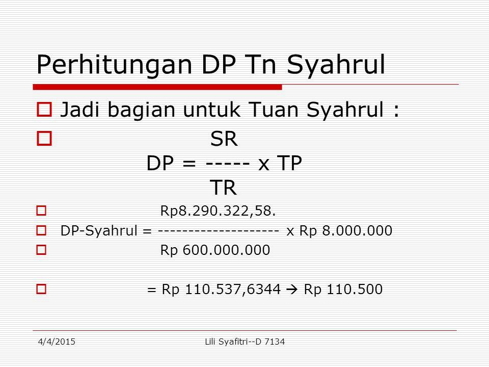 Perhitungan DP Tn Syahrul