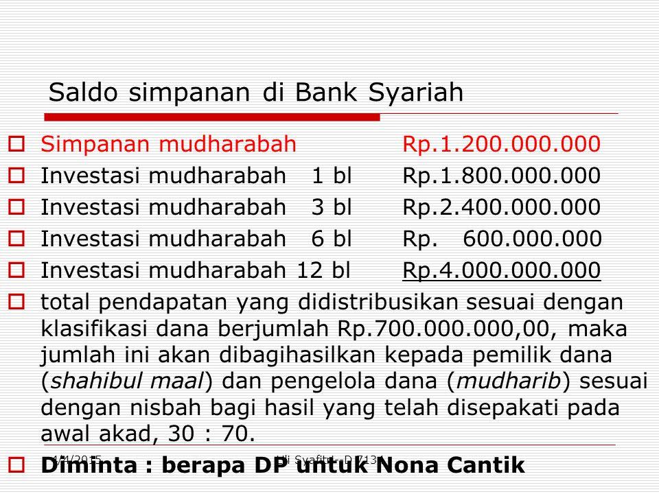 Saldo simpanan di Bank Syariah