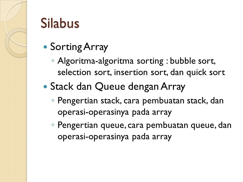 Silabus Sorting Array Stack dan Queue dengan Array