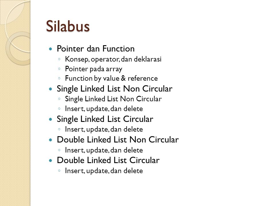 Silabus Pointer dan Function Single Linked List Non Circular