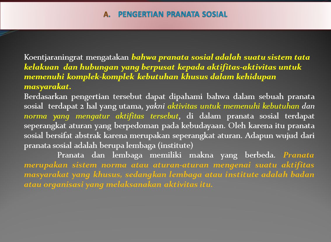 A. PENGERTIAN PRANATA SOSIAL