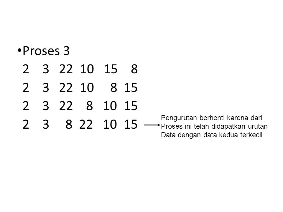 Proses 3 2 3 22 10 15 8. 2 3 22 10 8 15. 2 3 22 8 10 15. 2 3 8 22 10 15.