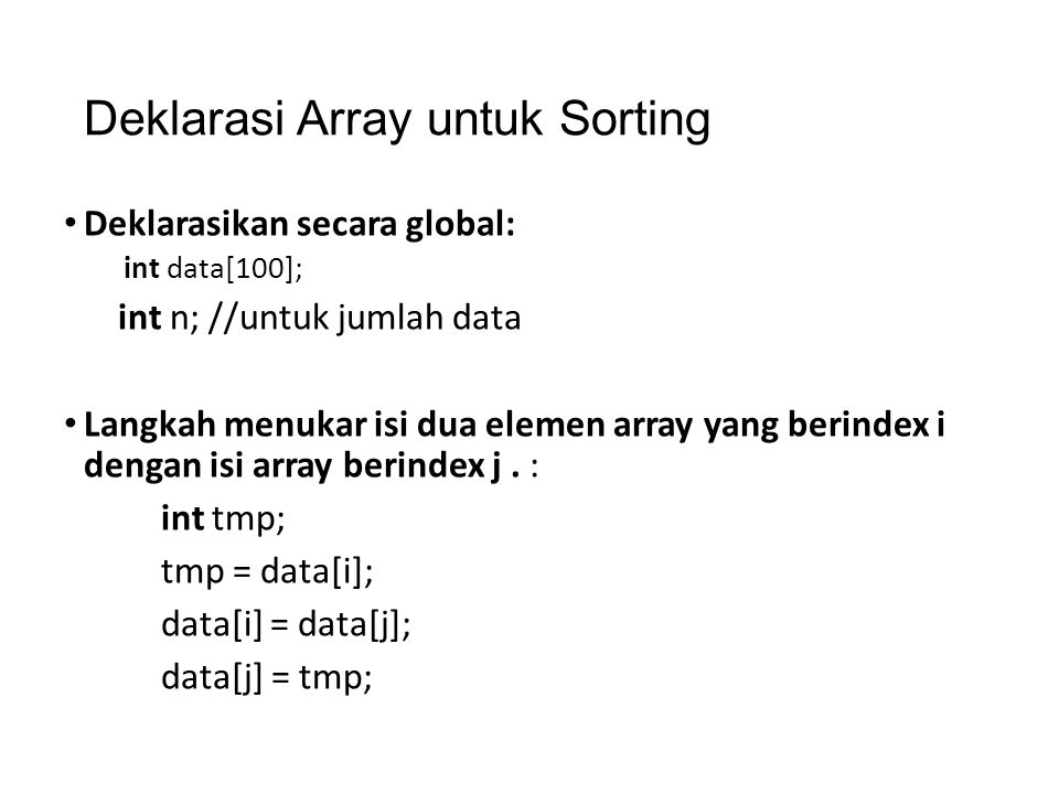 Deklarasi Array untuk Sorting