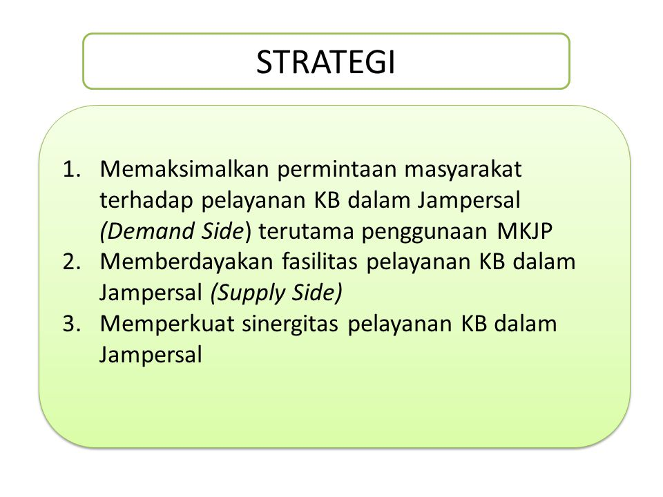 STRATEGI Memaksimalkan permintaan masyarakat terhadap pelayanan KB dalam Jampersal (Demand Side) terutama penggunaan MKJP.