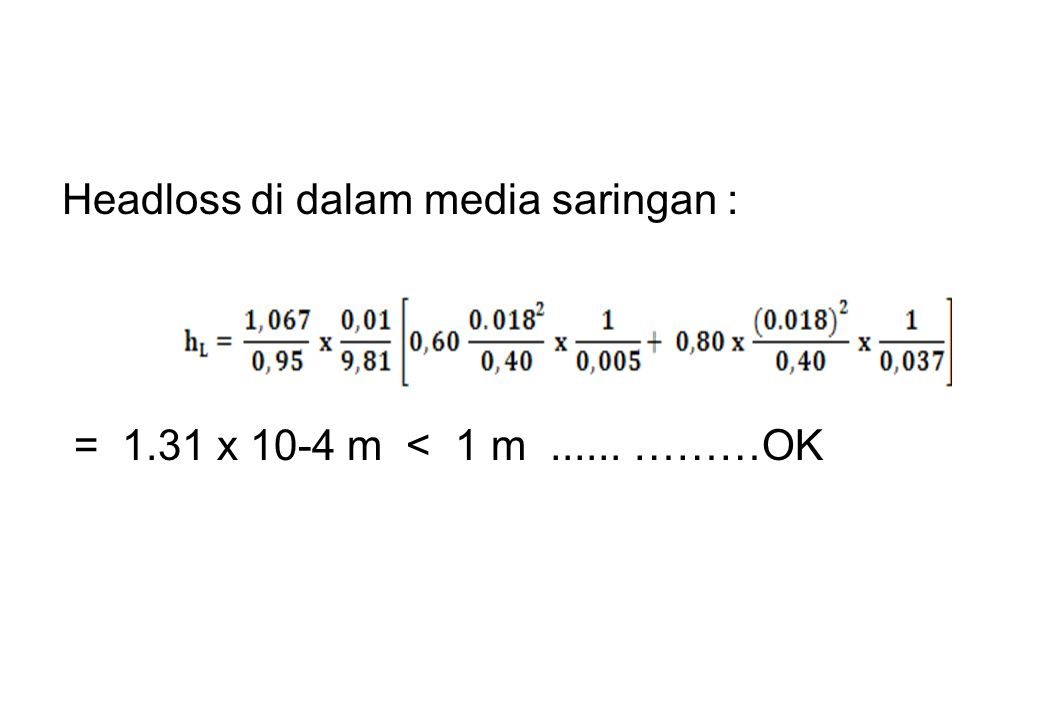 Headloss di dalam media saringan :