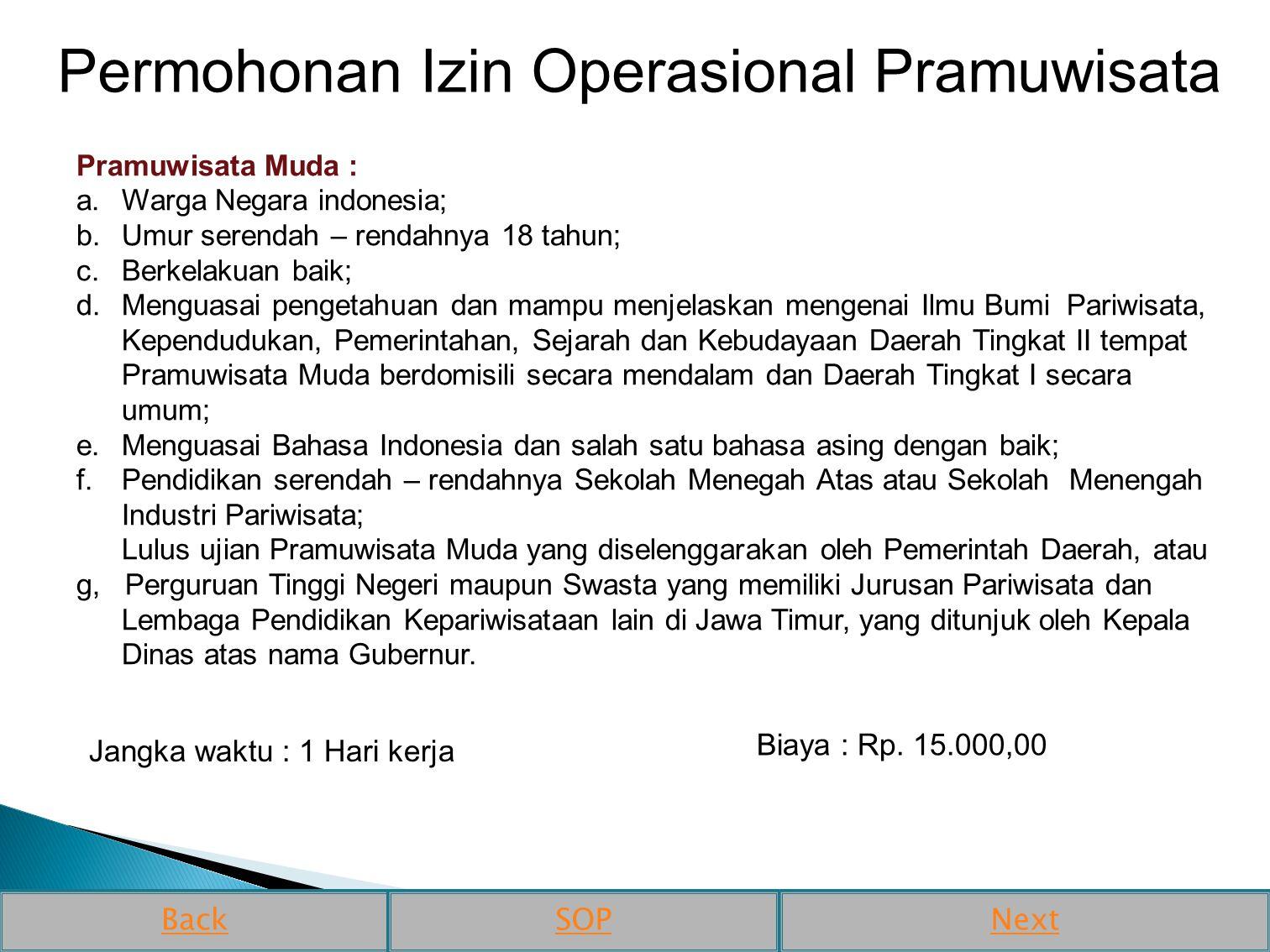Permohonan Izin Operasional Pramuwisata