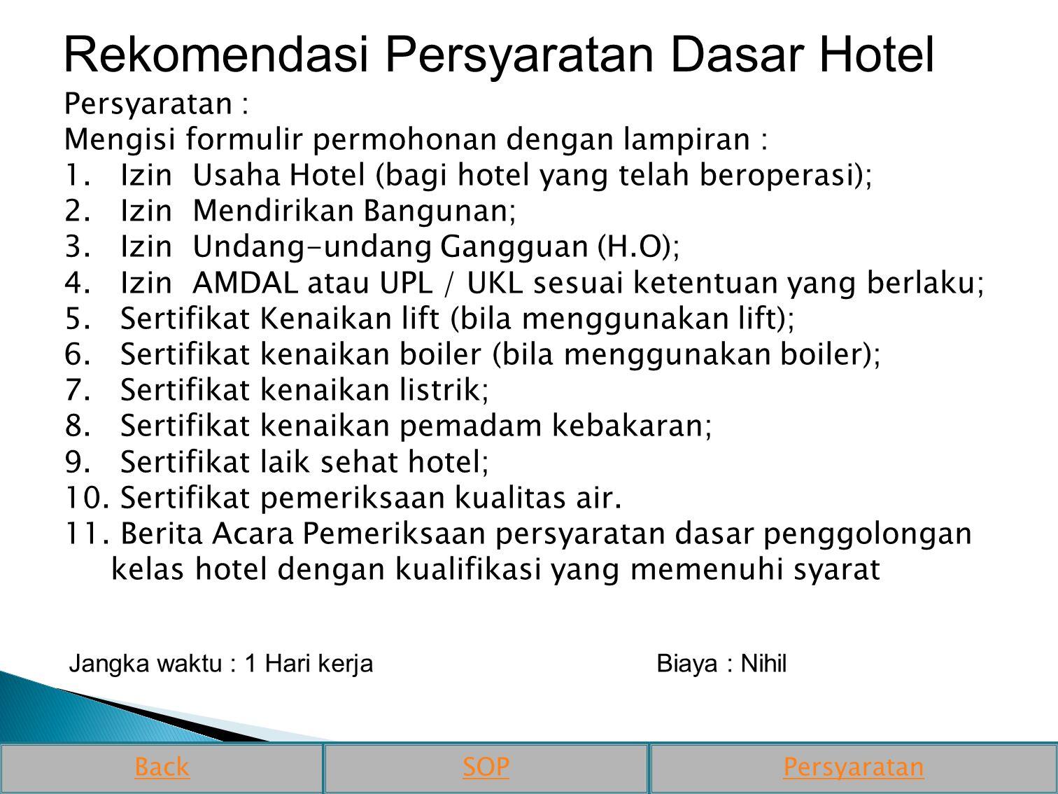 Rekomendasi Persyaratan Dasar Hotel