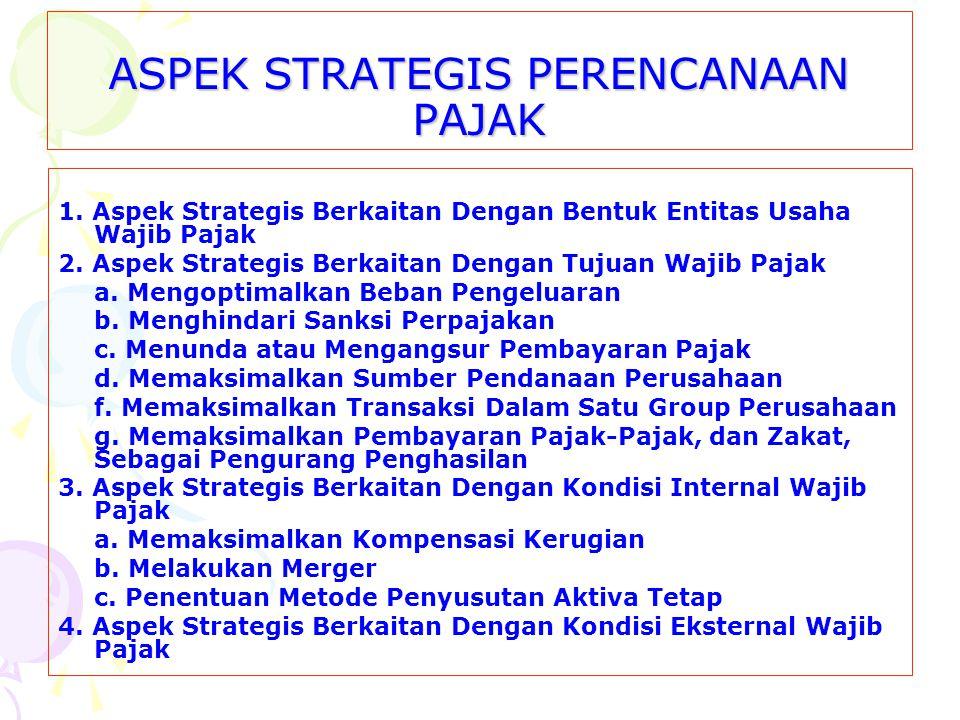 ASPEK STRATEGIS PERENCANAAN PAJAK