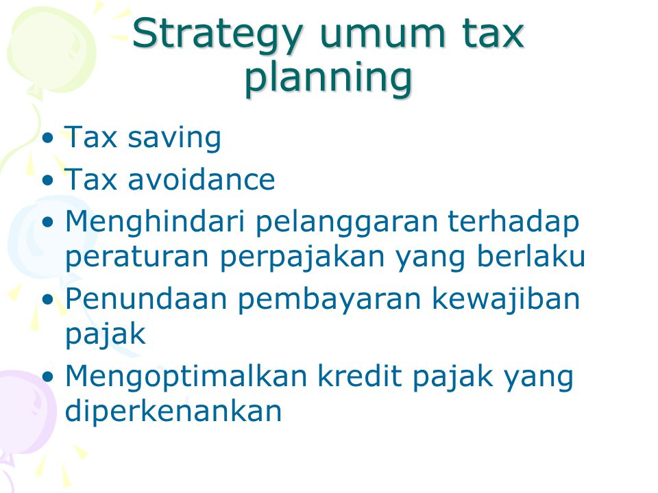 Strategy umum tax planning