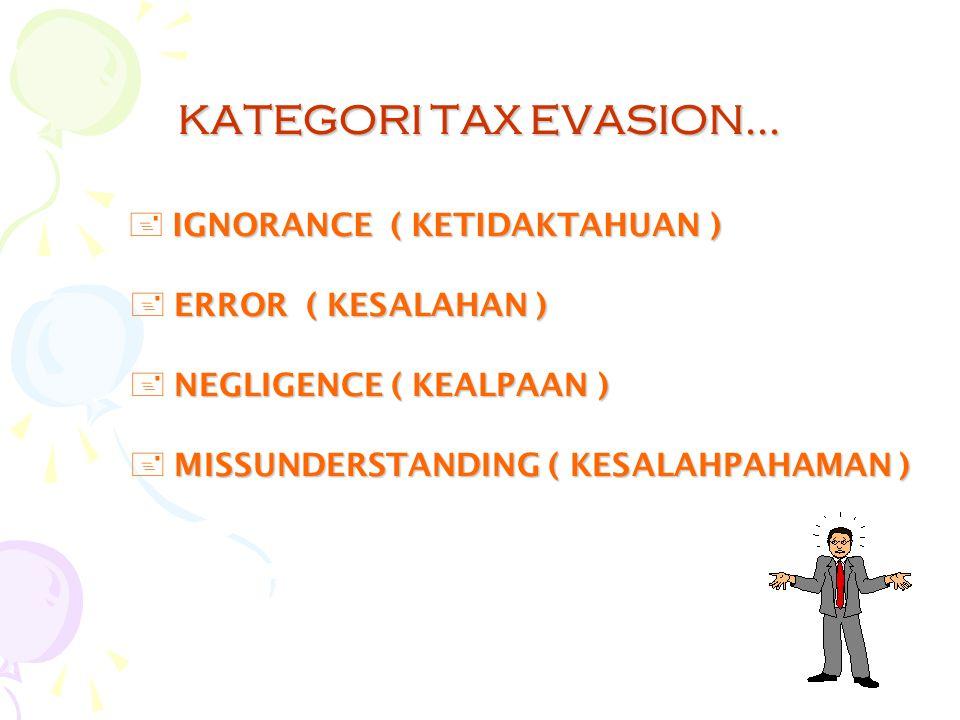 KATEGORI TAX EVASION... IGNORANCE ( KETIDAKTAHUAN )
