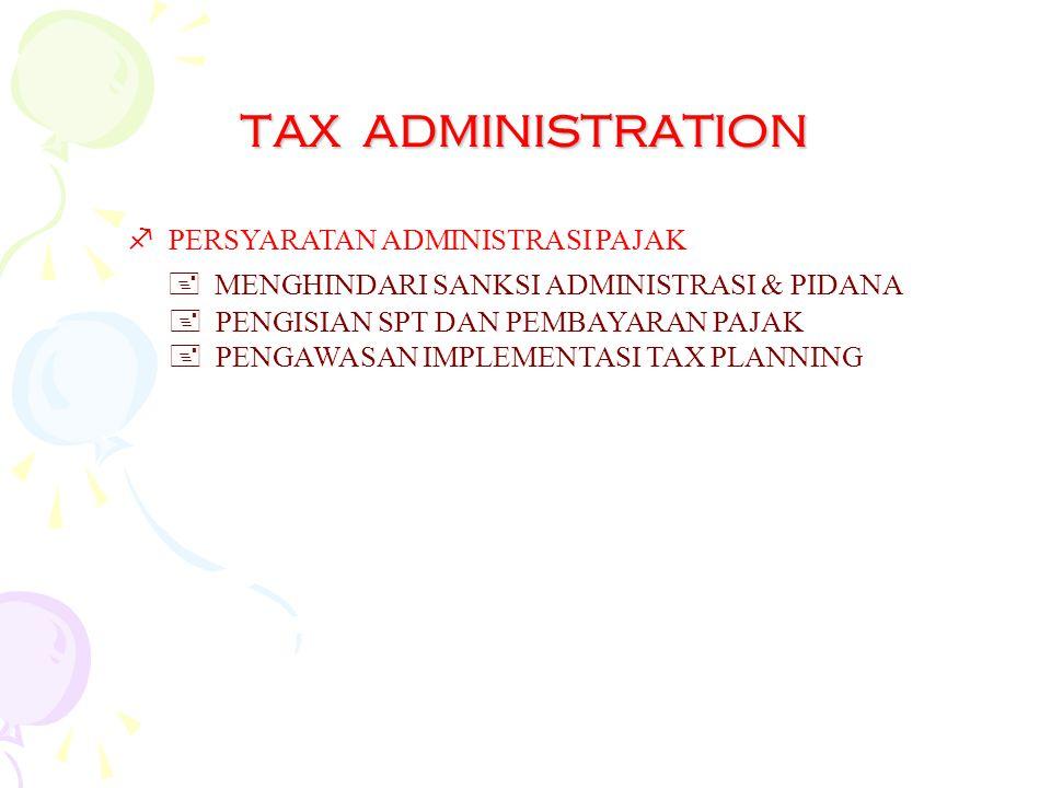 TAX ADMINISTRATION PERSYARATAN ADMINISTRASI PAJAK