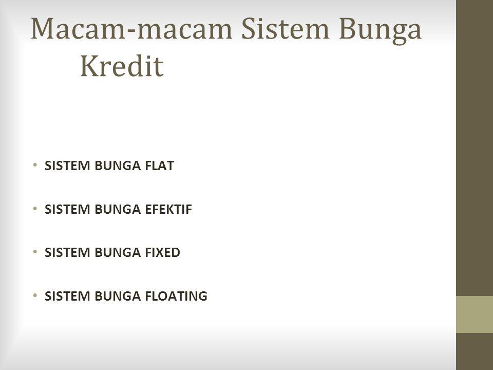 Macam-macam Sistem Bunga Kredit