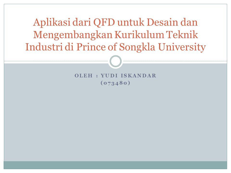 Aplikasi dari QFD untuk Desain dan Mengembangkan Kurikulum Teknik Industri di Prince of Songkla University