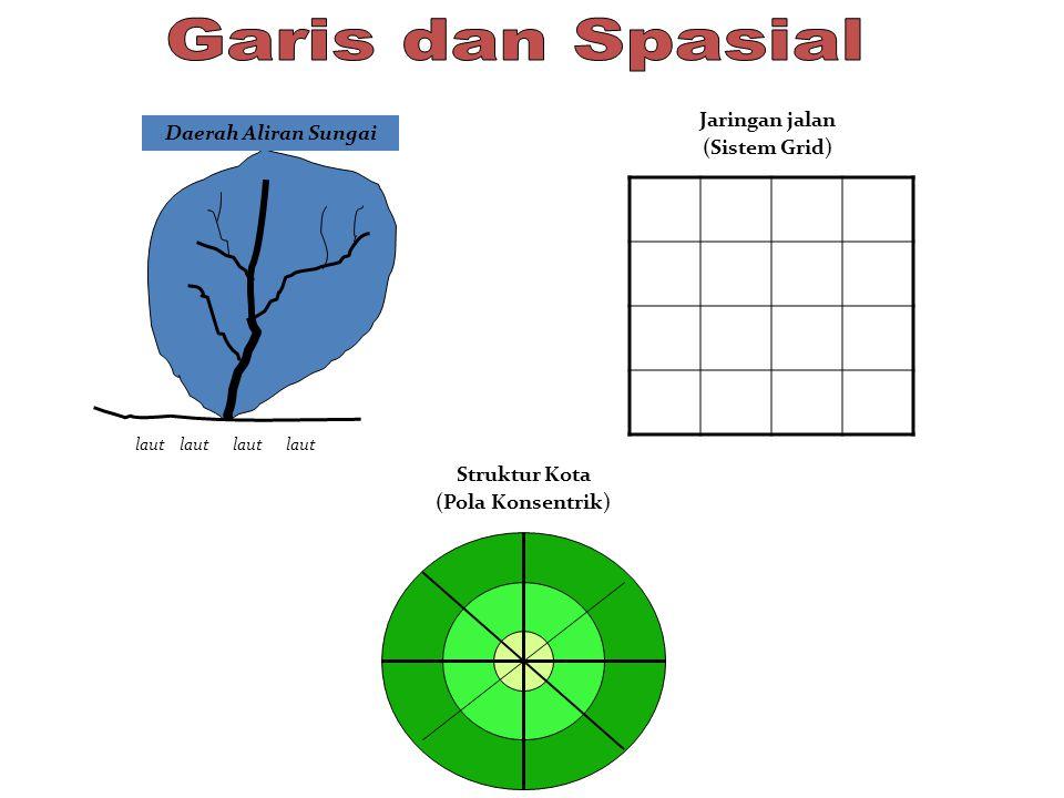 Garis dan Spasial Jaringan jalan Daerah Aliran Sungai (Sistem Grid)