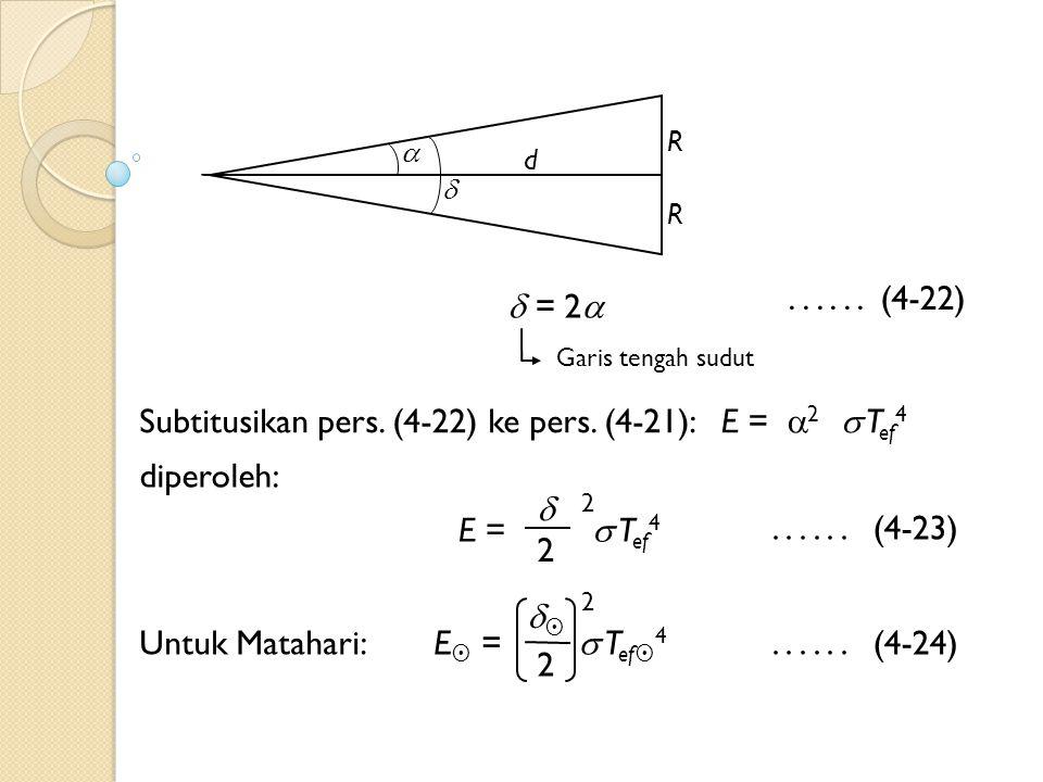 Subtitusikan pers. (4-22) ke pers. (4-21): E = 2  Tef4