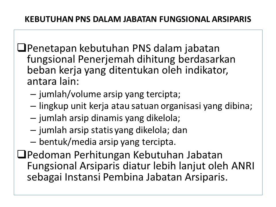 KEBUTUHAN PNS DALAM JABATAN FUNGSIONAL ARSIPARIS