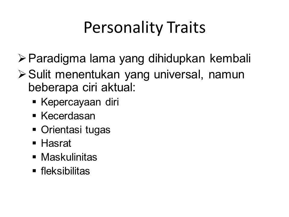Personality Traits Paradigma lama yang dihidupkan kembali