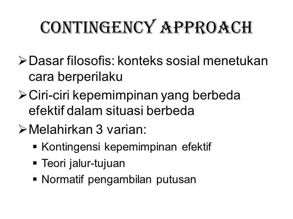 Contingency Approach Dasar filosofis: konteks sosial menetukan cara berperilaku. Ciri-ciri kepemimpinan yang berbeda efektif dalam situasi berbeda.