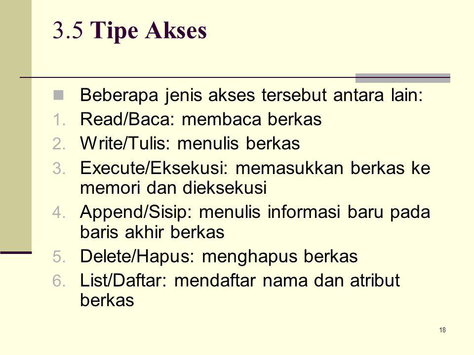 3.5 Tipe Akses Beberapa jenis akses tersebut antara lain: