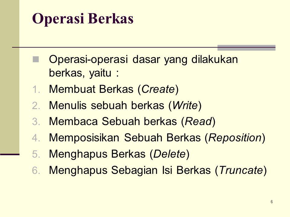 Operasi Berkas Operasi-operasi dasar yang dilakukan berkas, yaitu :
