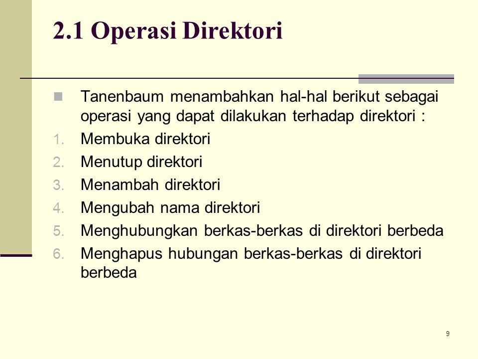 2.1 Operasi Direktori Tanenbaum menambahkan hal-hal berikut sebagai operasi yang dapat dilakukan terhadap direktori :
