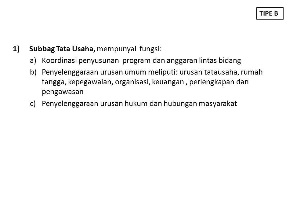 Subbag Tata Usaha, mempunyai fungsi: