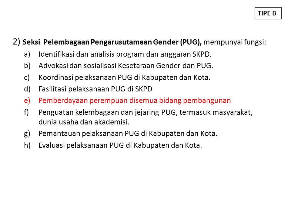2) Seksi Pelembagaan Pengarusutamaan Gender (PUG), mempunyai fungsi: