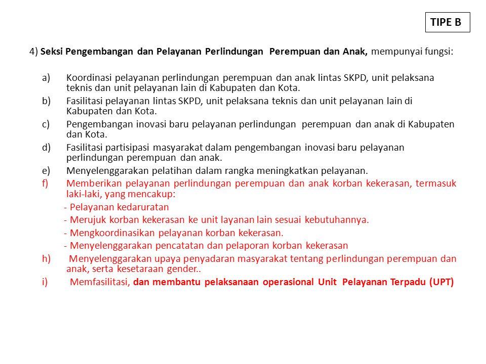 TIPE B 4) Seksi Pengembangan dan Pelayanan Perlindungan Perempuan dan Anak, mempunyai fungsi: