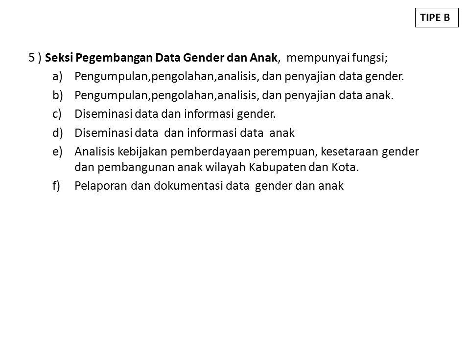5 ) Seksi Pegembangan Data Gender dan Anak, mempunyai fungsi;