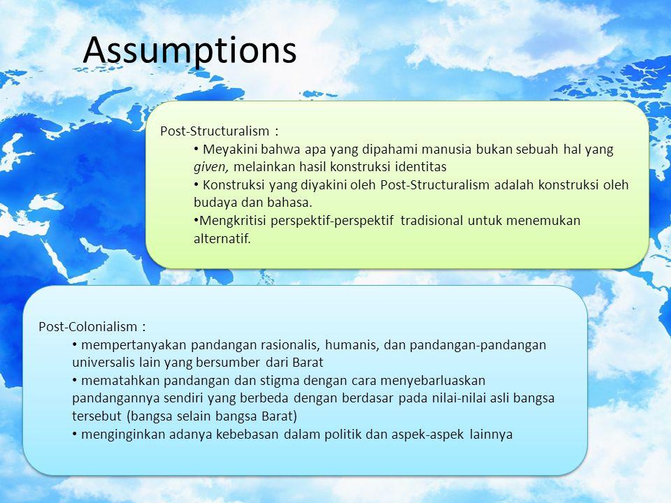 Assumptions Post-Structuralism :