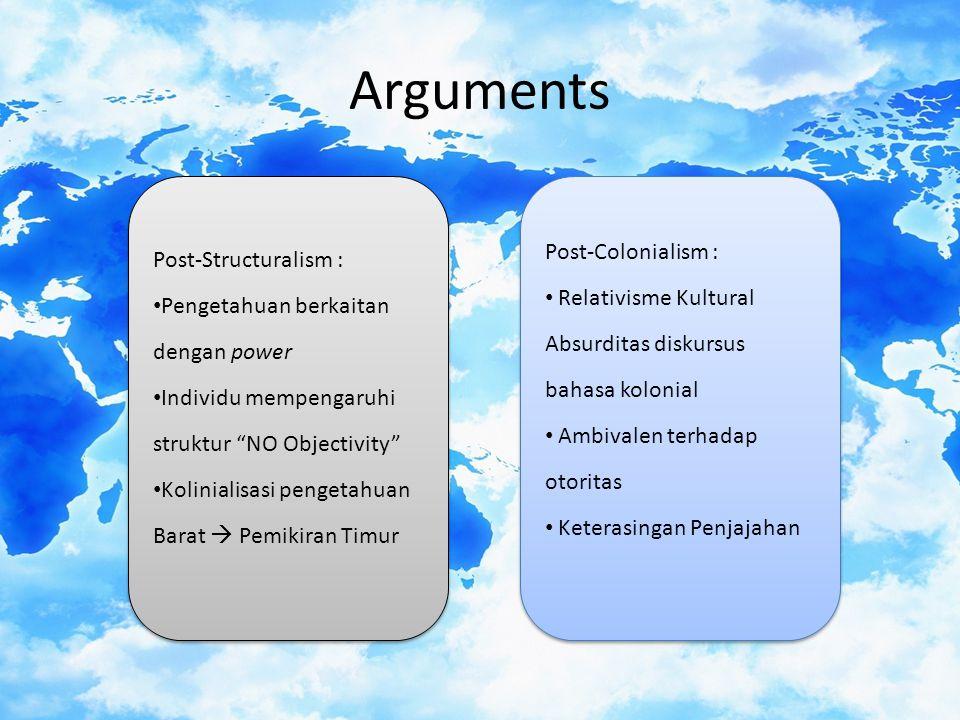 Arguments Post-Colonialism : Post-Structuralism : Relativisme Kultural