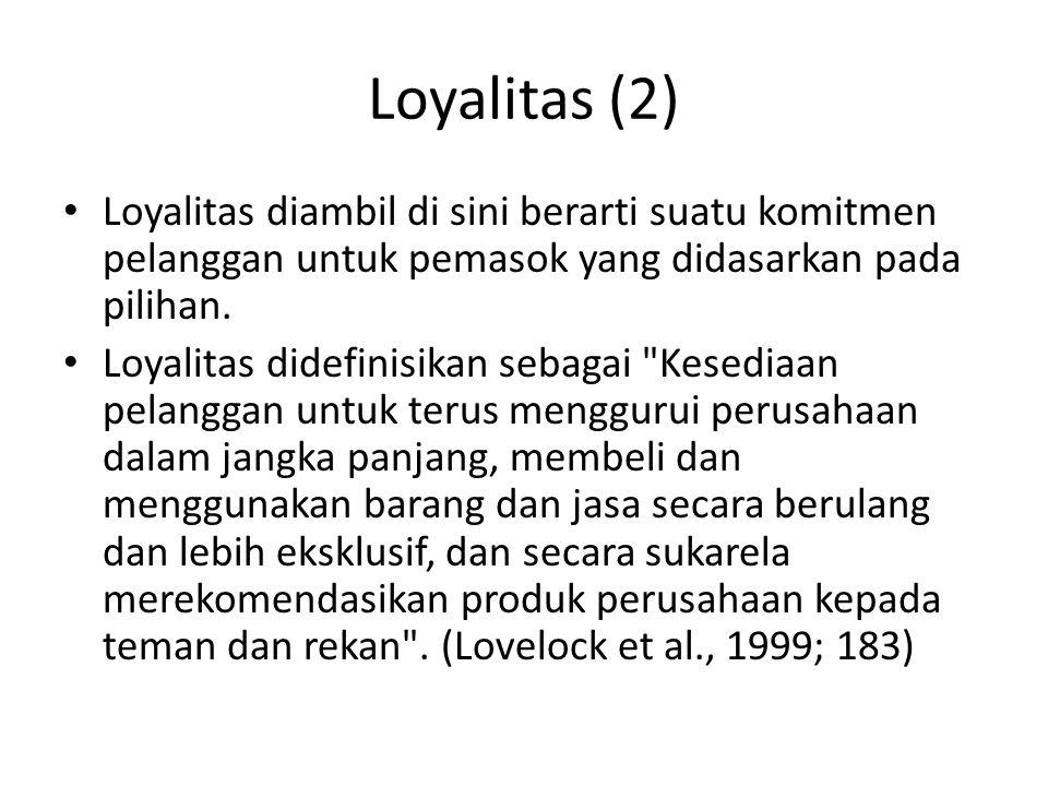 Loyalitas (2) Loyalitas diambil di sini berarti suatu komitmen pelanggan untuk pemasok yang didasarkan pada pilihan.