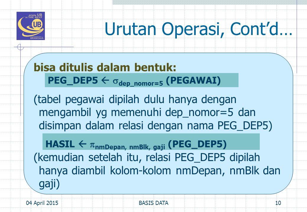 Urutan Operasi, Cont'd…