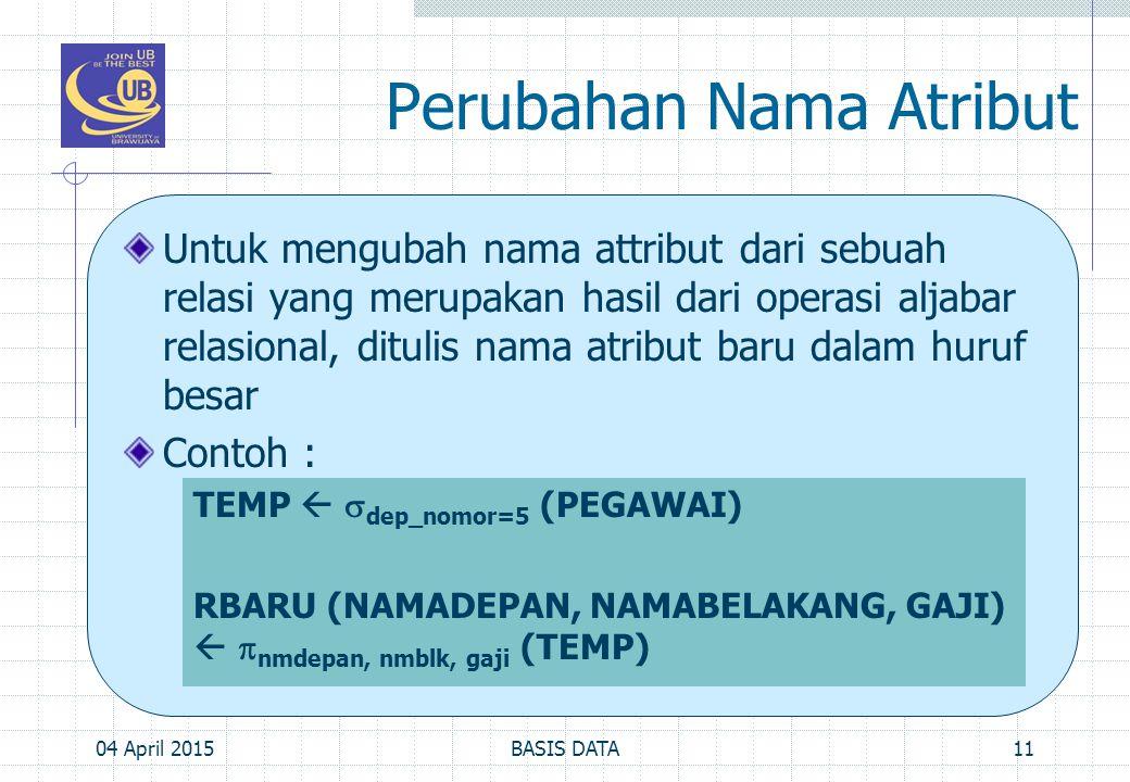 Perubahan Nama Atribut