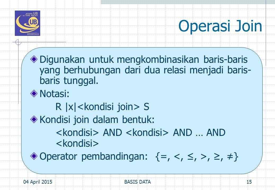 Operasi Join Digunakan untuk mengkombinasikan baris-baris yang berhubungan dari dua relasi menjadi baris-baris tunggal.