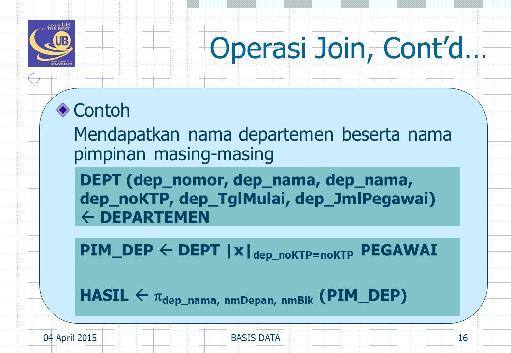 Operasi Join, Cont'd… Contoh