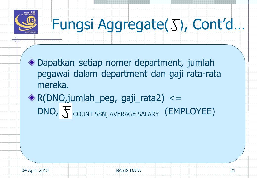 Fungsi Aggregate( ), Cont'd…