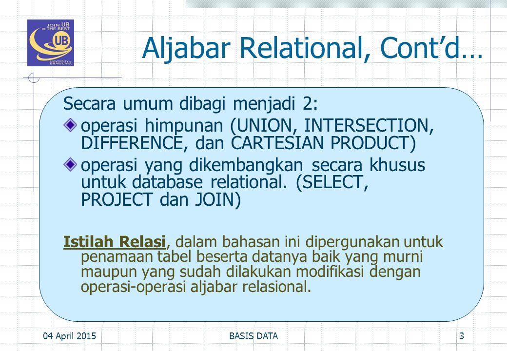 Aljabar Relational, Cont'd…