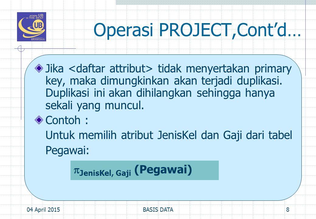 Operasi PROJECT,Cont'd…