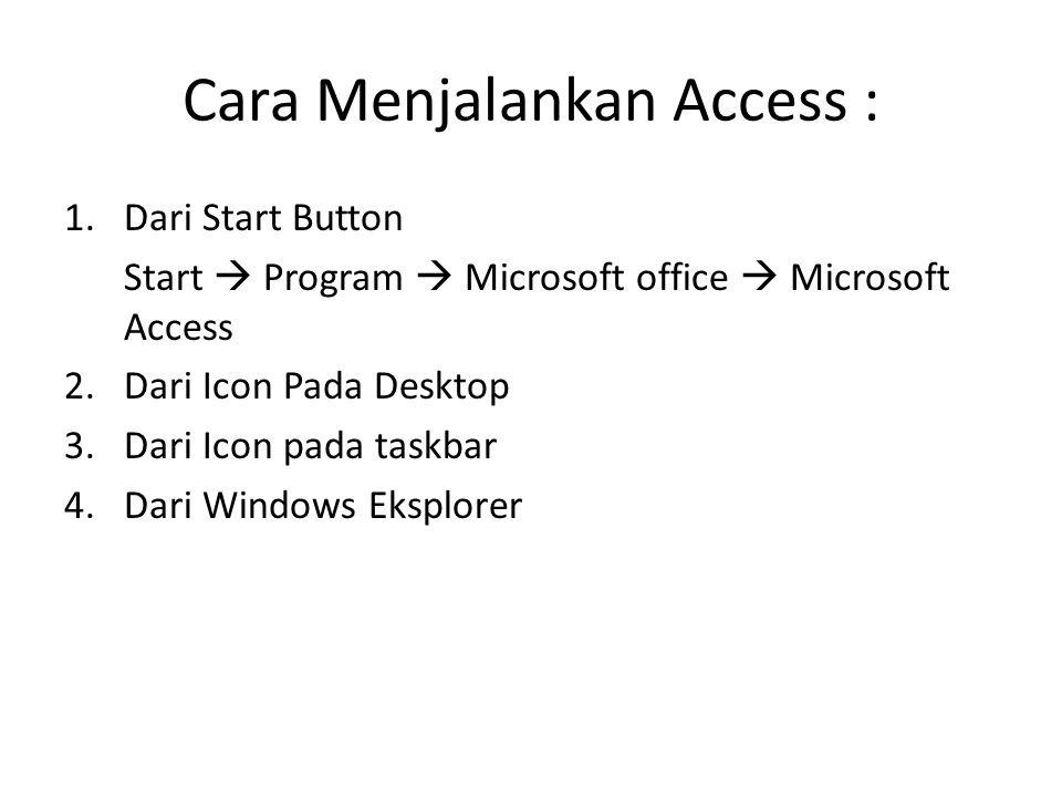 Cara Menjalankan Access :