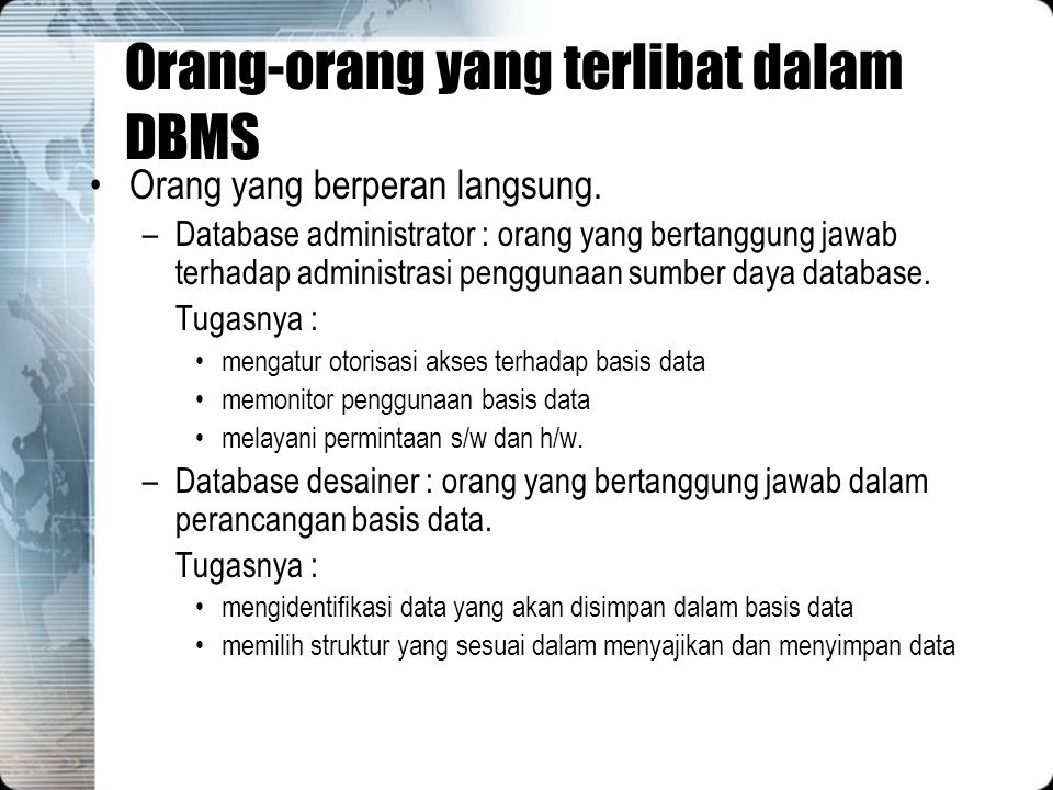 Orang-orang yang terlibat dalam DBMS