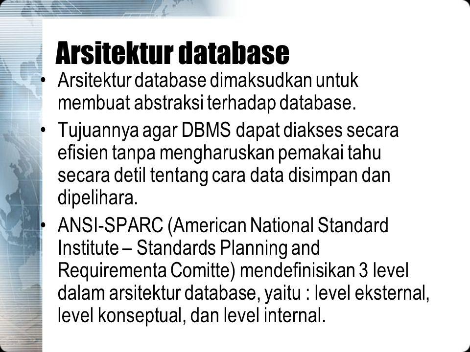 Arsitektur database Arsitektur database dimaksudkan untuk membuat abstraksi terhadap database.