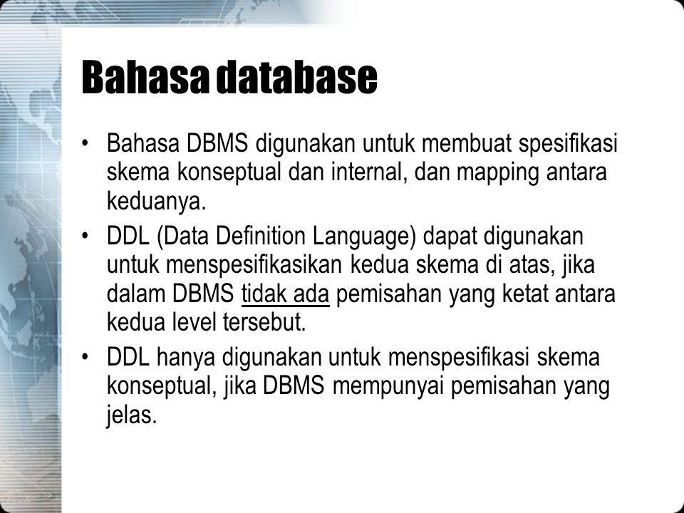 Bahasa database Bahasa DBMS digunakan untuk membuat spesifikasi skema konseptual dan internal, dan mapping antara keduanya.