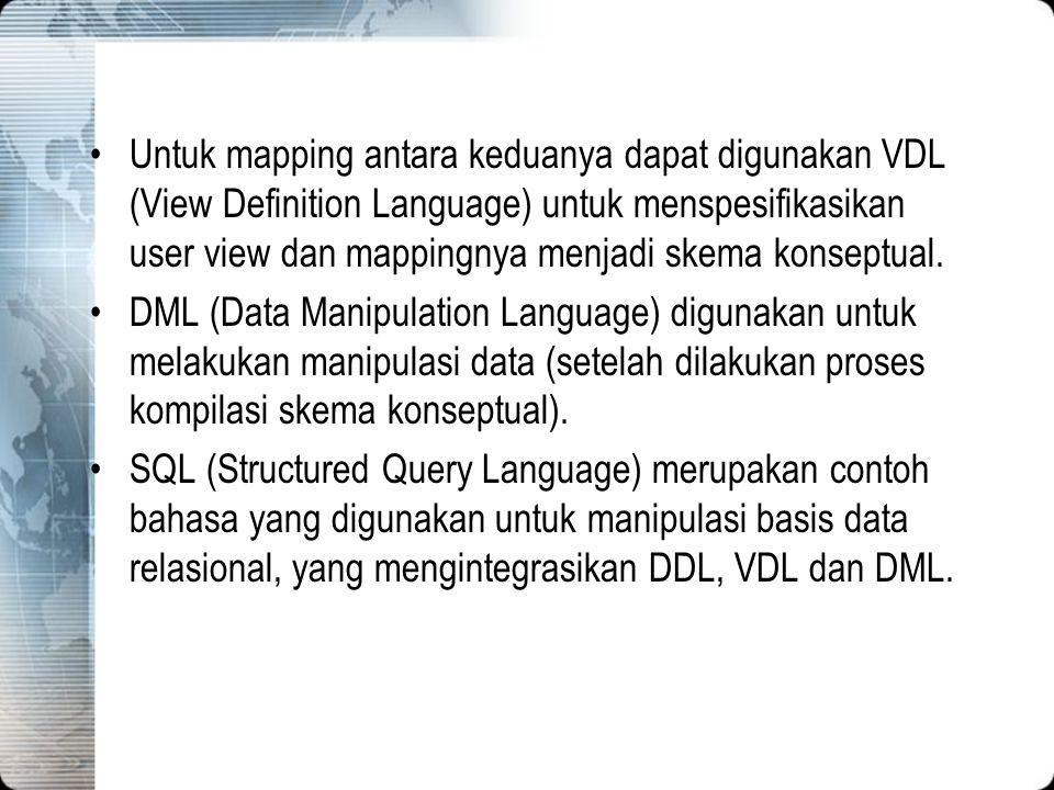Untuk mapping antara keduanya dapat digunakan VDL (View Definition Language) untuk menspesifikasikan user view dan mappingnya menjadi skema konseptual.