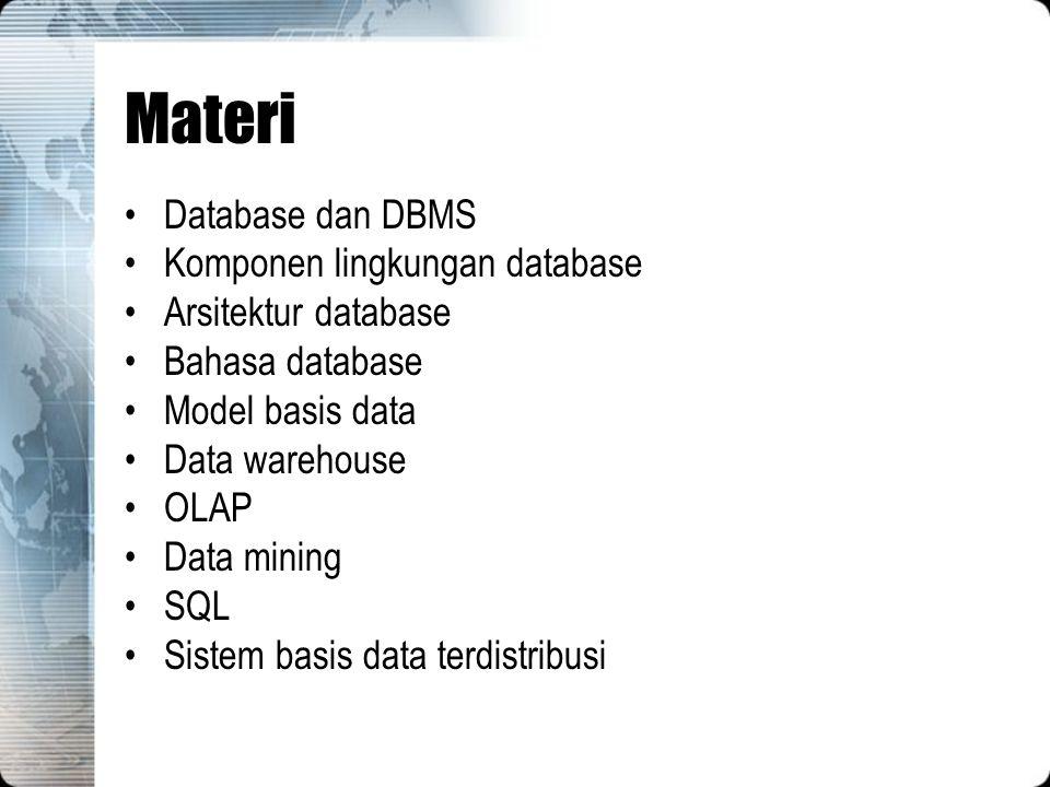 Materi Database dan DBMS Komponen lingkungan database