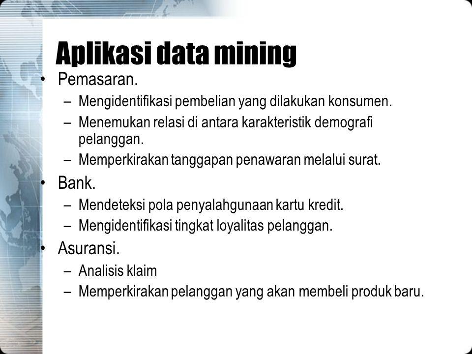 Aplikasi data mining Pemasaran. Bank. Asuransi.