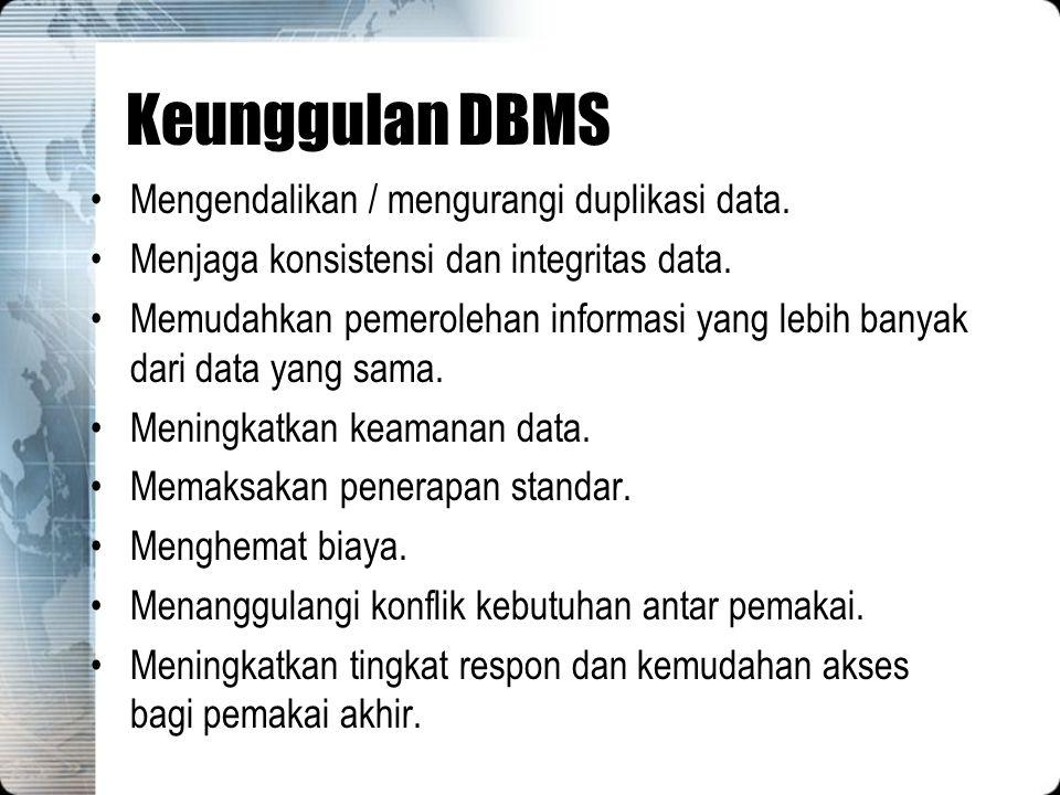 Keunggulan DBMS Mengendalikan / mengurangi duplikasi data.